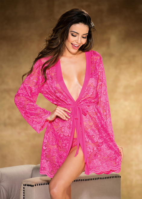 Beautiful Stretch Lace Long Sleeve Robe Trimmed Hot Pink Front