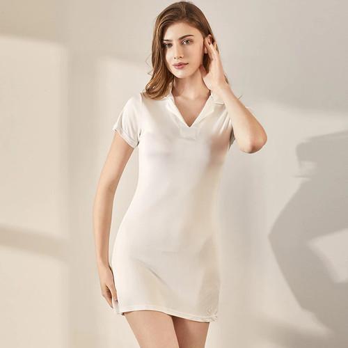 Women's Collared Silk Sleep Dress 1