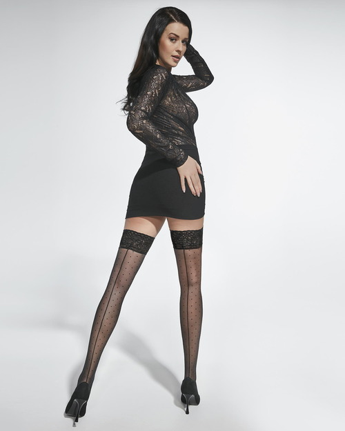 Vintage Thigh High Stockings with Back Seam