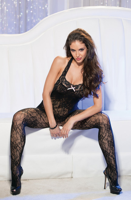 Stunning Stretch Lace Open Bodystocking Front