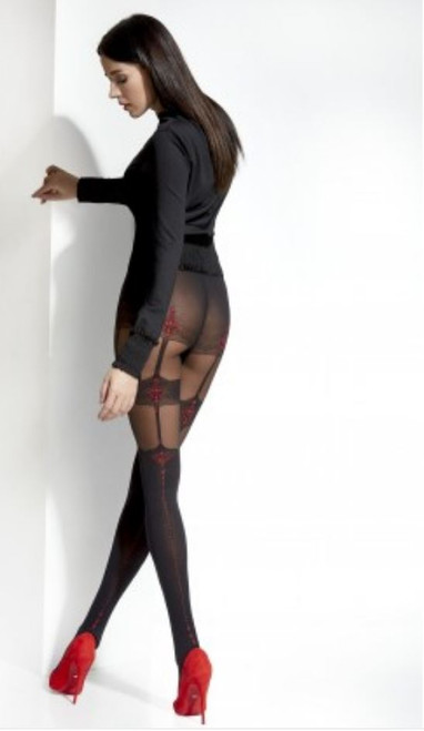 Cecile Patterned Tights with Imitating Hold Ups Red