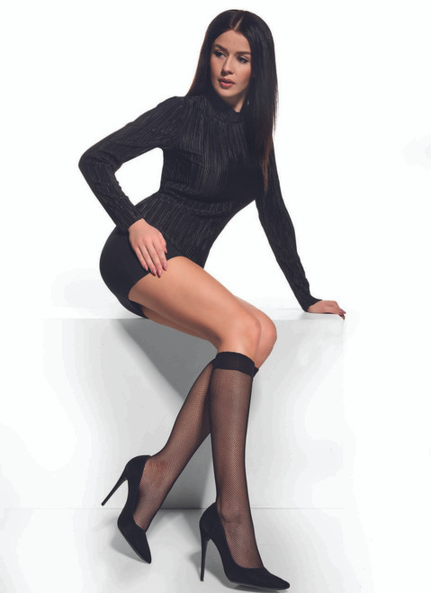 Afro High knee with fishnet design (small holes) Stockings #18
