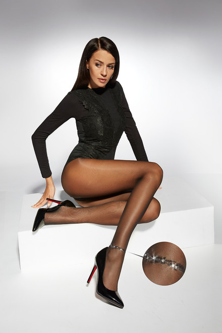Elise & Stones Patterned Tights With SWAROVSKI STONES Sitting