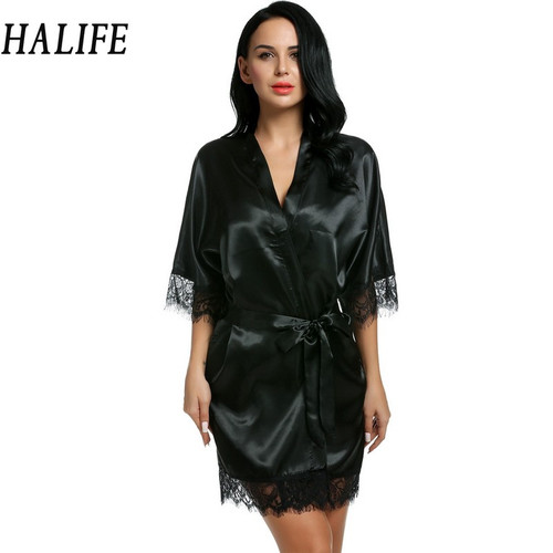 Halife Nightgowns Loose 3/4 Sleeve Lace-Trimmed Kimono Style