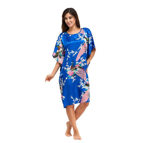 Blue Rayon Knee Length Nightgowns One Size