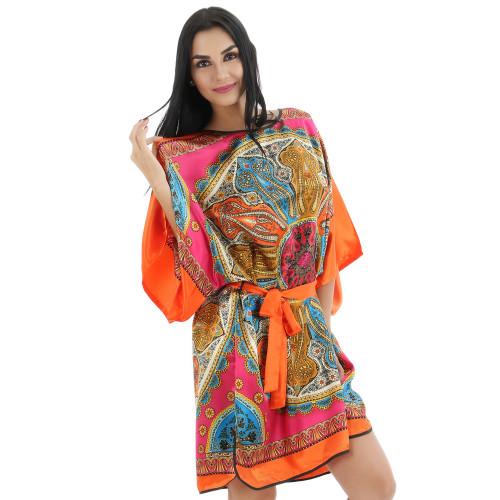 Plus Size Kimono BathRobes Rayon Robes Gown Night Dress 0719