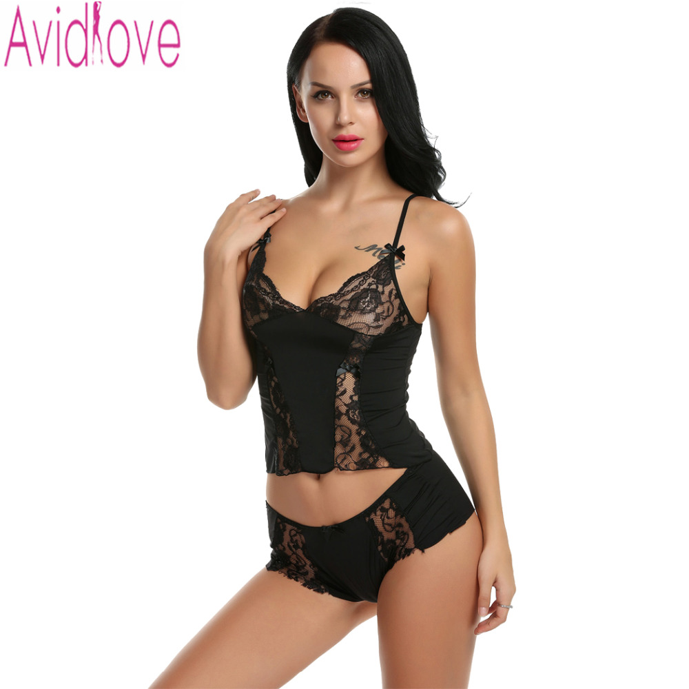e66bfc82623 Avidlove Bra Set Floral Lace Crop Top Panties Nightwear