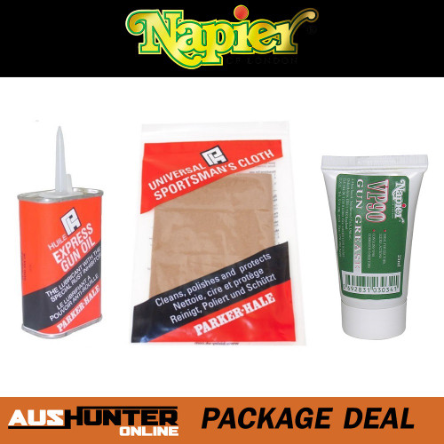 Parker Hale Express Gun Oil (125ml), Universal Silicone Cleaning Cloth & Napier Gun Grease