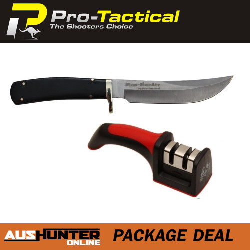 max-hunter skinning knife and two stage sharpener