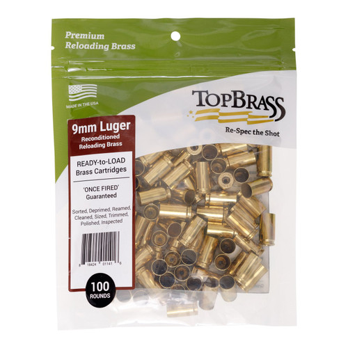Top Brass 9mm Luger Reconditioned Unprimed Cases - 100 Pack