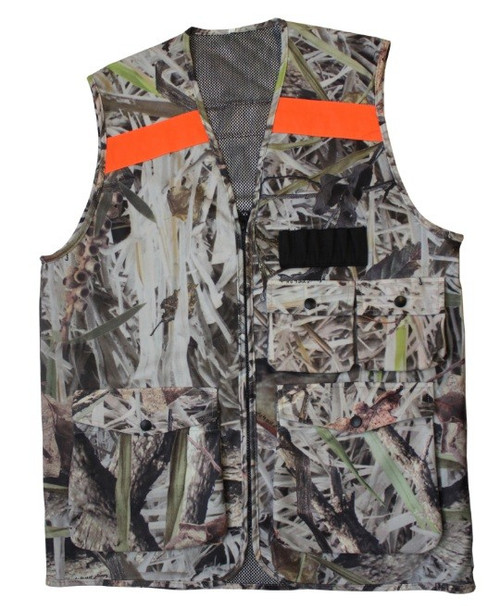 Max-Hunter Camo Hunting Vest with Orange Strip