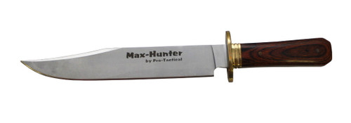 max-hunter bowie hunting knife 9 inch blade leather sheath