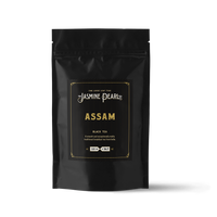 2 oz. packaging for Assam loose leaf black tea from The Jasmine Pearl Tea Co.
