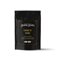 2 oz. packaging for Chaz's Chai loose leaf black tea from The Jasmine Pearl Tea Co.