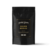 2 oz. packaging for Golden Needles loose leaf black tea from The Jasmine Pearl Tea Co.