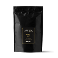 1 lb. packaging for Dame Grey loose leaf black tea from the Jasmine Pearl Tea Co.