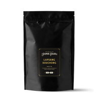1 lb. packaging for Lapsang Souchong smoked loose leaf black tea from The Jasmine Pearl Tea Co.