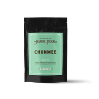 2 oz. packaging for Chunmee loose leaf green tea from The Jasmine Pearl Tea Co.