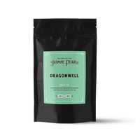 2 oz. packaging for Dragonwell loose leaf green tea from The Jasmine Pearl Tea Co.