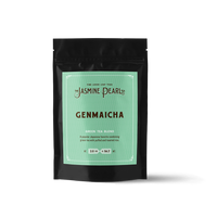 2 oz. packaging for Genmaicha loose leaf green tea from The Jasmine Pearl Tea Co.