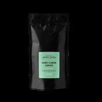 1 lb. packaging for Honey Lemon Ginger loose leaf green tea from The Jasmine Pearl Tea Co.