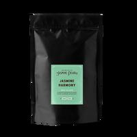 1 lb. packaging for Jasmine Harmony loose leaf green tea from The Jasmine Pearl Tea Co.