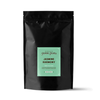 1 lb. packaging for Jasmine Harmony loose leaf green tea from The Jasmine Pearl Tea Co.