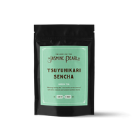 2 oz. packaging for Tsuyuhikari Sencha loose leaf green tea from The Jasmine Pearl Tea Co.