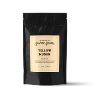2 oz. packaging for Yellow Mudan loose leaf yellow tea from The Jasmine Pearl Tea Co.