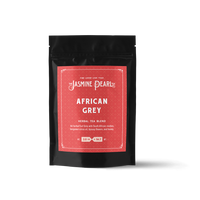 2 oz. packaging for African Grey loose leaf herbal tea from The Jasmine Pearl Tea Co.