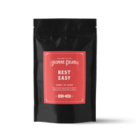 2 oz. packaging for Rest Easy loose leaf herbal tea from The Jasmine Pearl Tea Co.
