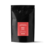 1 lb. packaging for Rest Easy loose leaf herbal tea from The Jasmine Pearl Tea Co.