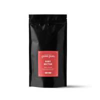 1 lb. packaging for Ruby Nectar loose leaf herbal tea from The Jasmine Pearl Tea Co.