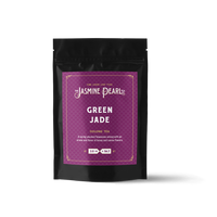 2 oz. packaging for Green Jade loose leaf oolong tea from The Jasmine Pearl Tea Co.