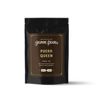 2 oz. packaging for Puerh Queen aged loose leaf puerh tea from The Jasmine Pearl Tea Co.