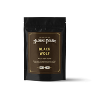 2 oz. packaging for Black Wolf loose leaf puerh tea from The Jasmine Pearl Tea Co.