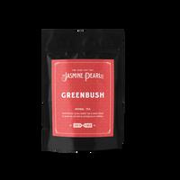 2 oz. packaging for Greenbush (Green Rooibos) loose leaf herbal tea from The Jasmine Pearl Tea Co.