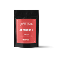 2 oz. packaging for Greenbush (Green Rooibos) loose leaf herbal tea from The Jasmine Pearl Tea Co.