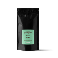 1 lb. packaging for Yuzu Green loose leaf green tea from the Jasmine Pearl Tea Co.