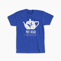 """Pot Head"" Shirt from the Jasmine Pearl Tea Co. in Men's Blue Crew Neck"