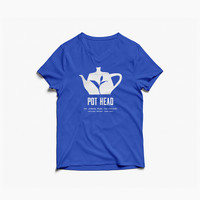 """Pot Head"" Shirt from the Jasmine Pearl Tea Co. in Women's Blue V-Neck"