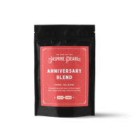 2 oz. packaging for Anniversary Blend loose leaf herbal tea from the Jasmine Pearl Tea Co.