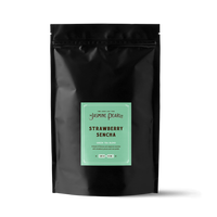 1 lb. packaging for Strawberry Sencha loose leaf green tea from the Jasmine Pearl Tea Co.
