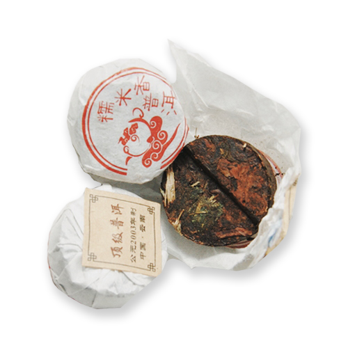 Sticky Rice Mini Tuocha loose leaf puerh tea from The Jasmine Pearl Tea Co.
