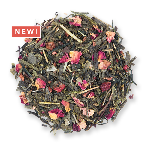 Strawberry Sencha loose leaf green tea blend from the Jasmine Pearl Tea Co.