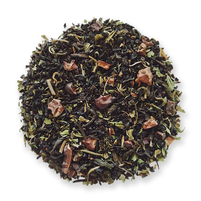Cocoa Mint black loose leaf tea from The Jasmine Pearl Tea Co.