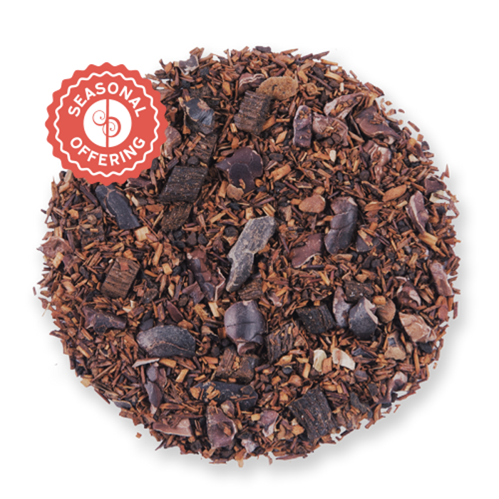 Cocoa Rouge loose leaf herbal tea blend from The Jasmine Pearl Tea Co.