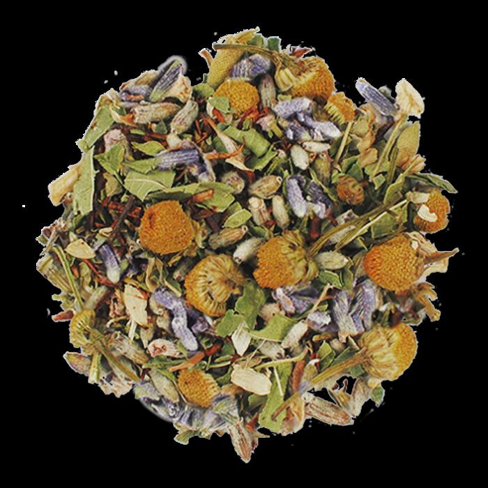 Rest Easy loose leaf herbal tea from The Jasmine Pearl Tea Co.