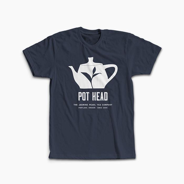 """""""Pot Head"""" Shirt from the Jasmine Pearl Tea Co. in Men's Grey Crew Neck"""