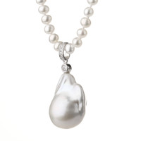 White Fireball Baroque Pearl Pendant on White Round Pearl Necklace2